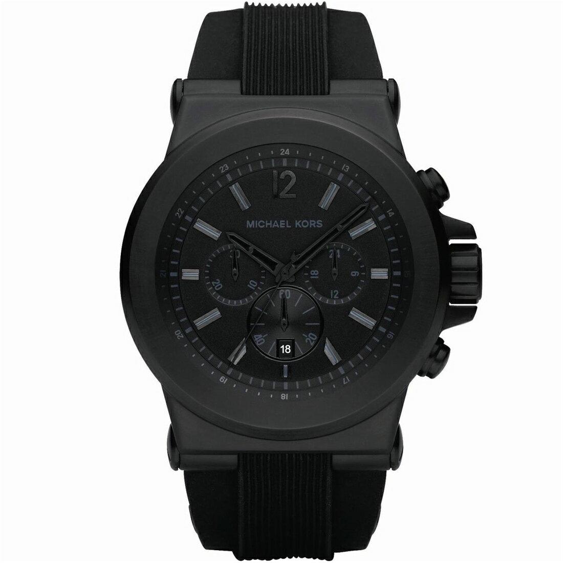 Outlet正品代購 Michael Kors MK 男款 沉穩黑錶面 橡膠錶帶 三眼計時手錶腕錶 MK8152