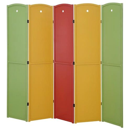 Legacy Decor 5-panel Solid Wood Screen Room Divider, Childrens Room Divider, Multi Colored