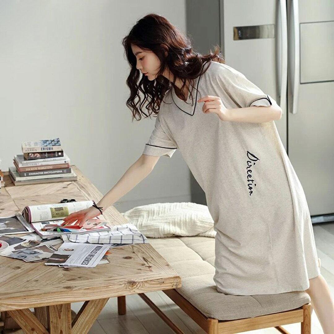 精梳棉- 韓版寬鬆顯瘦居家服睡裙 M-XL(中大尺碼可穿)【漫時光】(G072)★裙裝熱銷NO.1★ 2