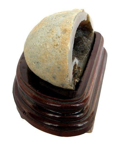 瑪瑙聚寶盆擺件白水晶聚寶盆0.86kg水晶洞