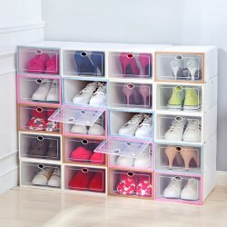 PS Mall 透明自由組裝鞋子收納盒 居家防塵DIY翻蓋抽屜式鞋盒34*23*14 【J787】