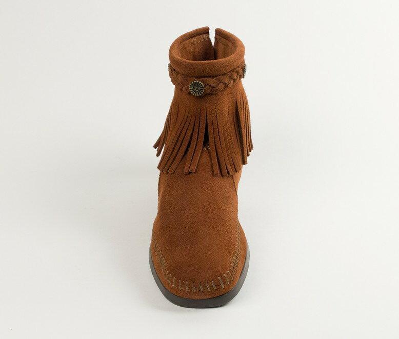 【Minnetonka 莫卡辛】棕色 - 麂皮後拉鍊流蘇莫卡辛短靴 4