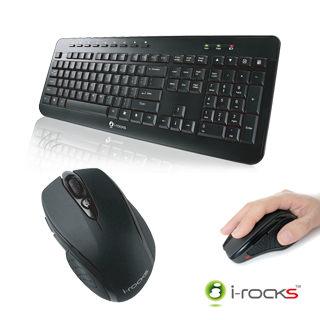 i-rocks 艾芮克 IRK15 2.4GHz無線鍵盤滑鼠組(黑色) , 內建多媒體快捷鍵 [天天3C]