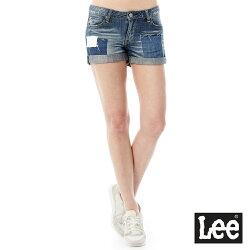 Lee 牛仔拼接短褲Vintage Laundry系列-女款-藍