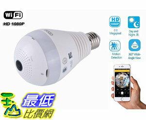 [106美國直購] smart camera 360 eoqo Wide Angle Fisheye WiFi IP Hidden Camera Bulb LED Light 1080P Androi..