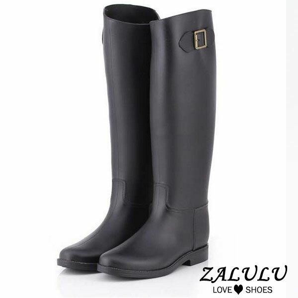 JK015 預購 防水高筒修身搭扣雨鞋-黑-36-40【ZALULU愛鞋館】 2