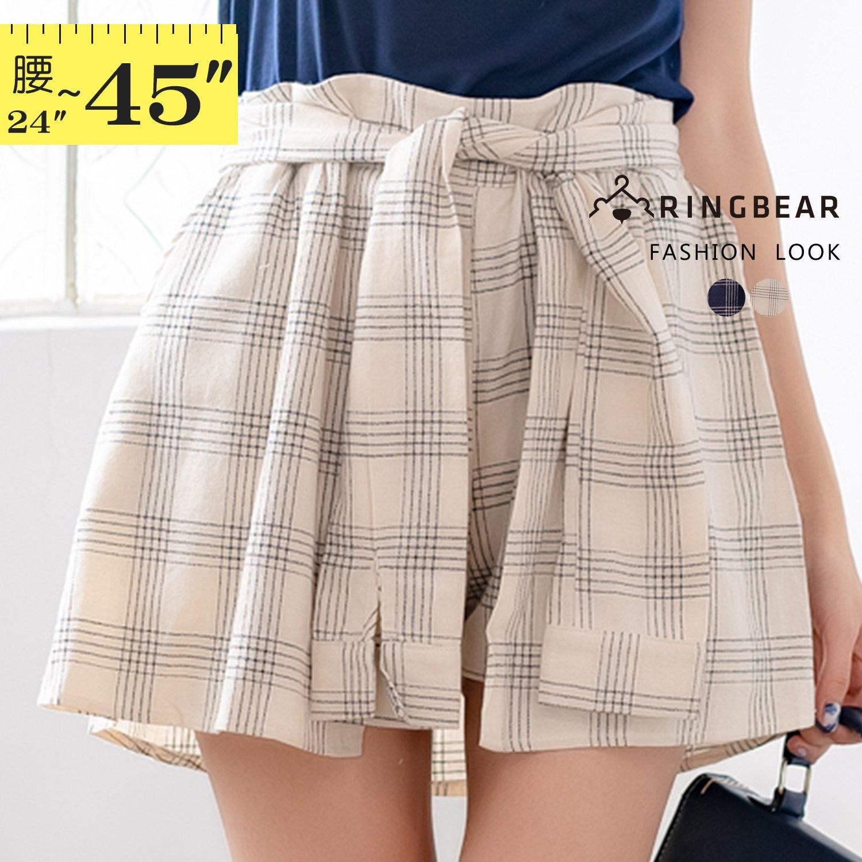 褲裙--清甜可愛潮流百搭款假兩件式後鬆緊收腰格紋綁帶褲裙(白.藍XL-5L)-R74眼圈熊中大尺碼 1