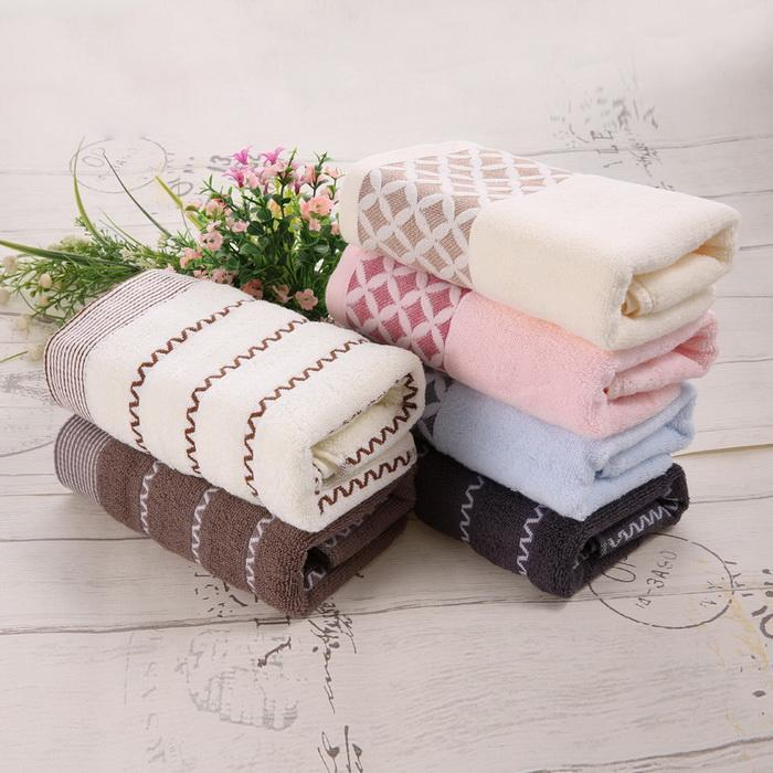 6PCS Cotton Bath Towel Face Shower Towels Set Striped 0
