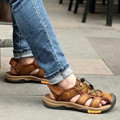 涼鞋真皮拖鞋-夏季透氣舒適休閒男鞋子3色73sa10【獨家進口】【米蘭精品】