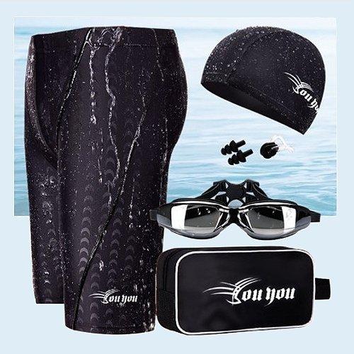 ☆小薇的店☆時尚大男七分鯊魚泳褲六件組配套特價568元NO.25255黑(L-4L)
