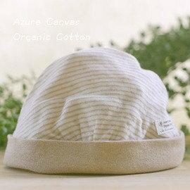 ~淘氣寶寶~⊙藍天畫布⊙100%有機棉  天然彩棉 新生兒  嬰兒帽,棕條紋棕點款, 織造