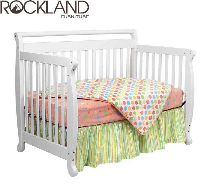 【Rockland】艾蜜莉四合一大床(白色)-附贈床墊+床側護欄