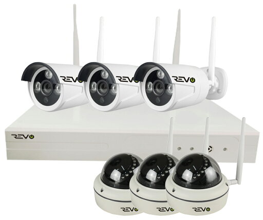 REVO America Wireless 8CH. Security System - 1TB HDD Full-HD Wi-Fi NVR, 3 x 1080P Bullet & 3 x 1080P Dome Cameras - Remote Access Via Smart Phone, Tablet and Pc