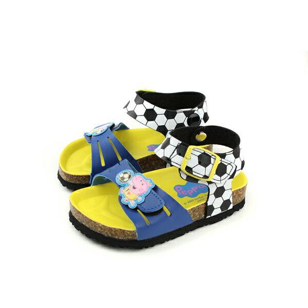 粉紅豬小妹PeppaPig涼鞋勃肯鞋魔鬼氈藍色印花小童童鞋PG4513no721