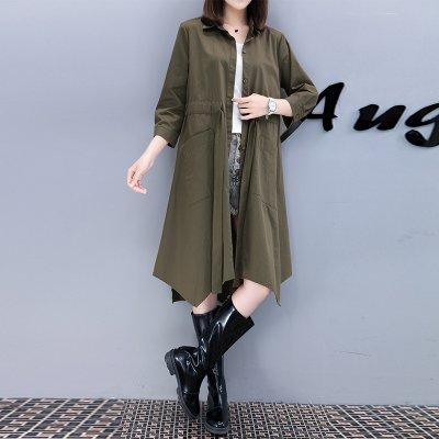 FINDSENSE G6 韓國時尚 新款 純色 抽繩 收腰 單排扣 長款 文藝 中長款 風衣 外套