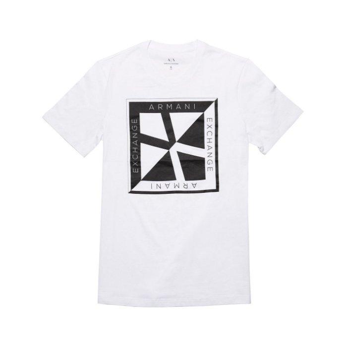 美國百分百【Armani Exchange】T恤 AX 短袖 logo 短T 上衣 T-shirt 設計 白色 XS號 H842