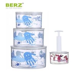 BERZ英國貝氏 真空保鮮盒密封罐3件組 送真空抽取棒