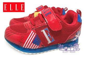 【巷子屋】ELLE 男童寬楦康特杯輕量安全電燈運動慢跑鞋 [52062] 紅 超值價$398