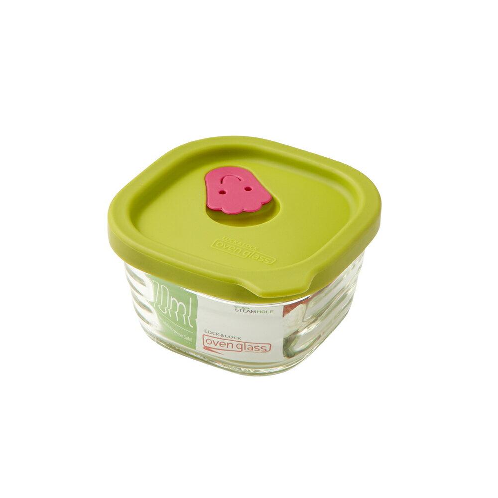 【樂扣樂扣】矽膠上蓋耐熱波浪玻璃保鮮盒/方形170ml/綠色