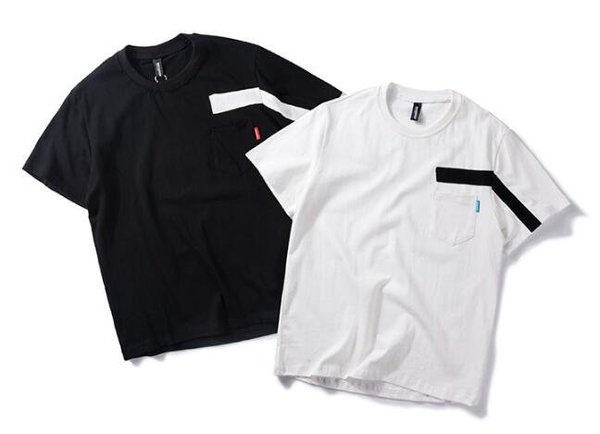 FINDSENSEMD韓國時尚休閒潮男黑白撞色貼條個性T恤短袖T恤特色短T