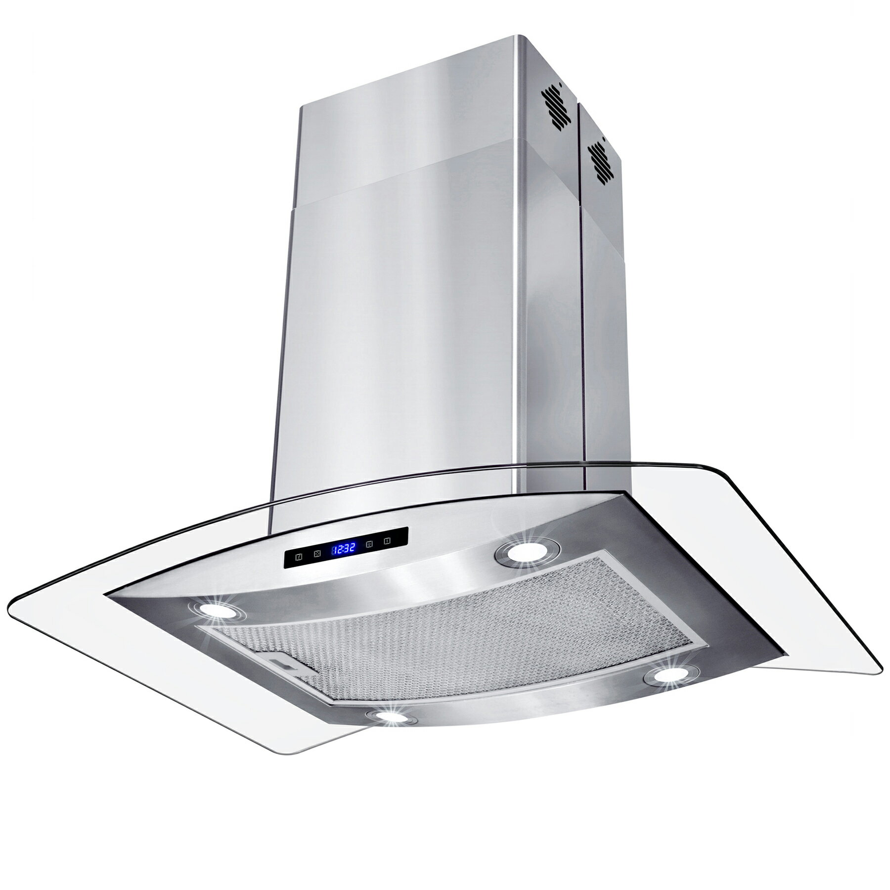 "AKDY 30"" Island Mount Stainless Steel Tempered Glass Touch Panel Kitchen Range Hood Cooking Fan 3"