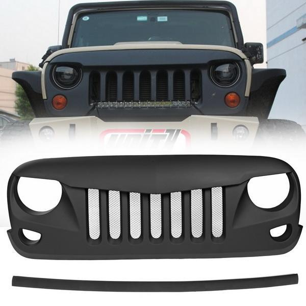 Eagle Eye Black Front Grill with Built-in Steel Mesh for 2007-2016 Jeep Wrangler 2