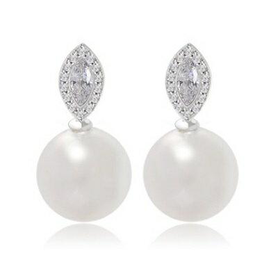 純銀耳環鍍白金鑲鑽耳飾~ 氣質 生日情人節 女飾品73cr123~ ~~米蘭 ~