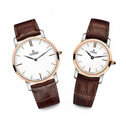 TITONI瑞士梅花錶 纖薄系列 TQ52918SRG-ST-583+TQ42918SRG-ST-583 簡約金屬時尚腕錶/玫瑰金 38+25mm