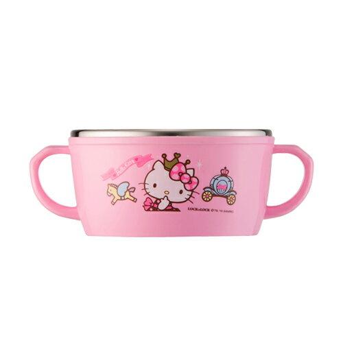 X射線【C107815】Hello Kitty 不銹鋼雙把碗250ml,湯碗/飯碗/餐具/陶瓷杯/玻璃碗/開學