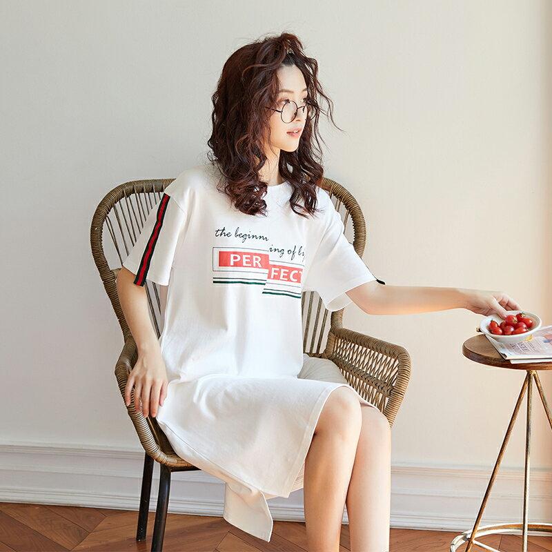 白色甜美短袖中長裙居家服- 純棉睡裙可外穿 M-XL【漫時光】(G073)  ▶99購物節 優惠碼:2009CP50 3