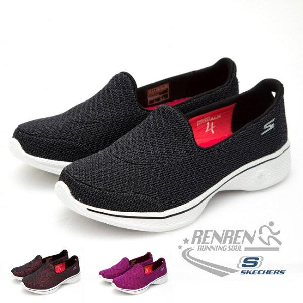 SKECHERS女運動鞋GOGoWalk4(黑)健走系列鞋14900BKW【胖媛的店】