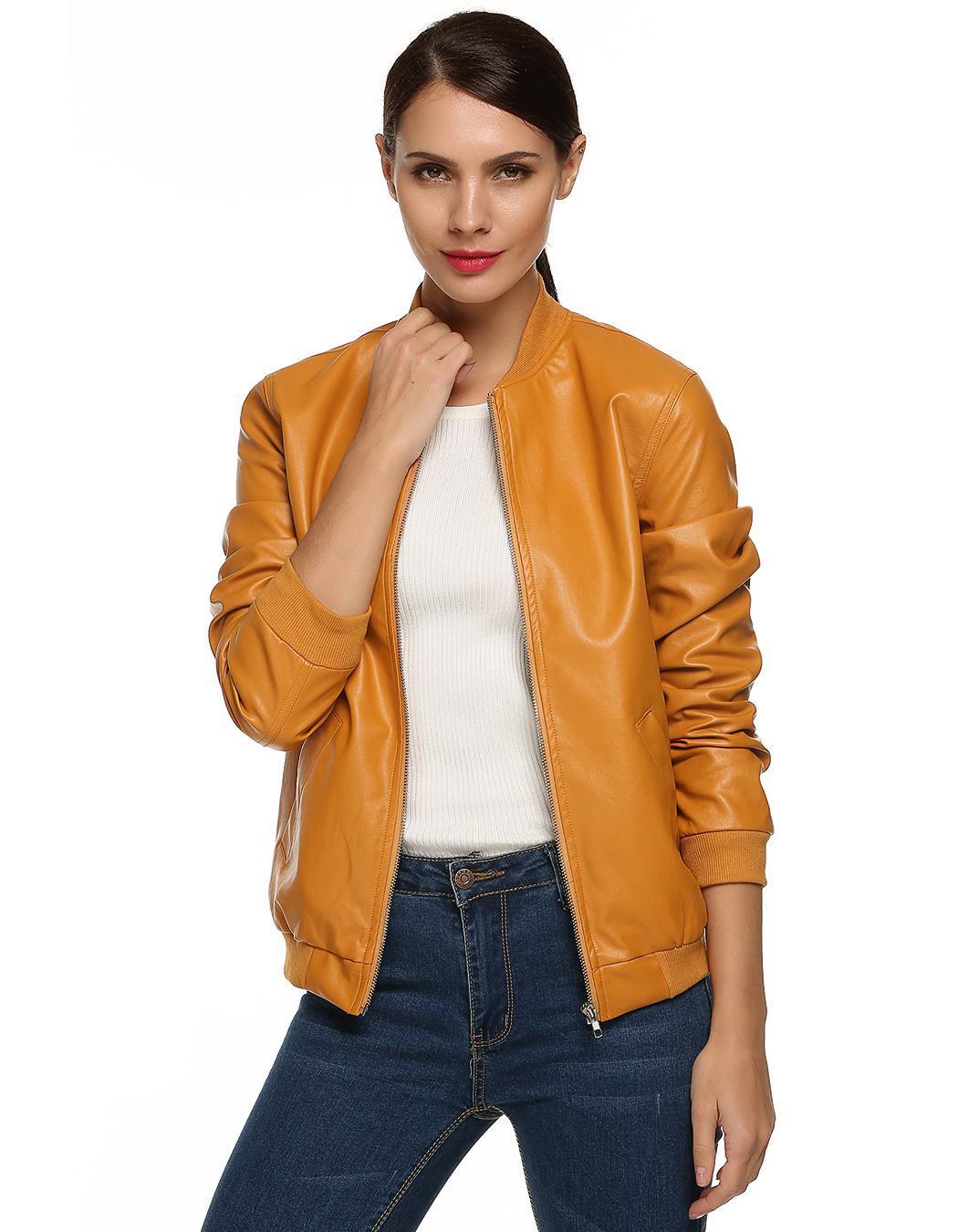 Women Casual Zipper Synthetic Leather Biker Jacket Coat 2
