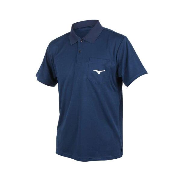 MIZUNO男裝上衣短袖高爾夫網球休閒排汗舒適透氣藍【運動世界】32TA801514
