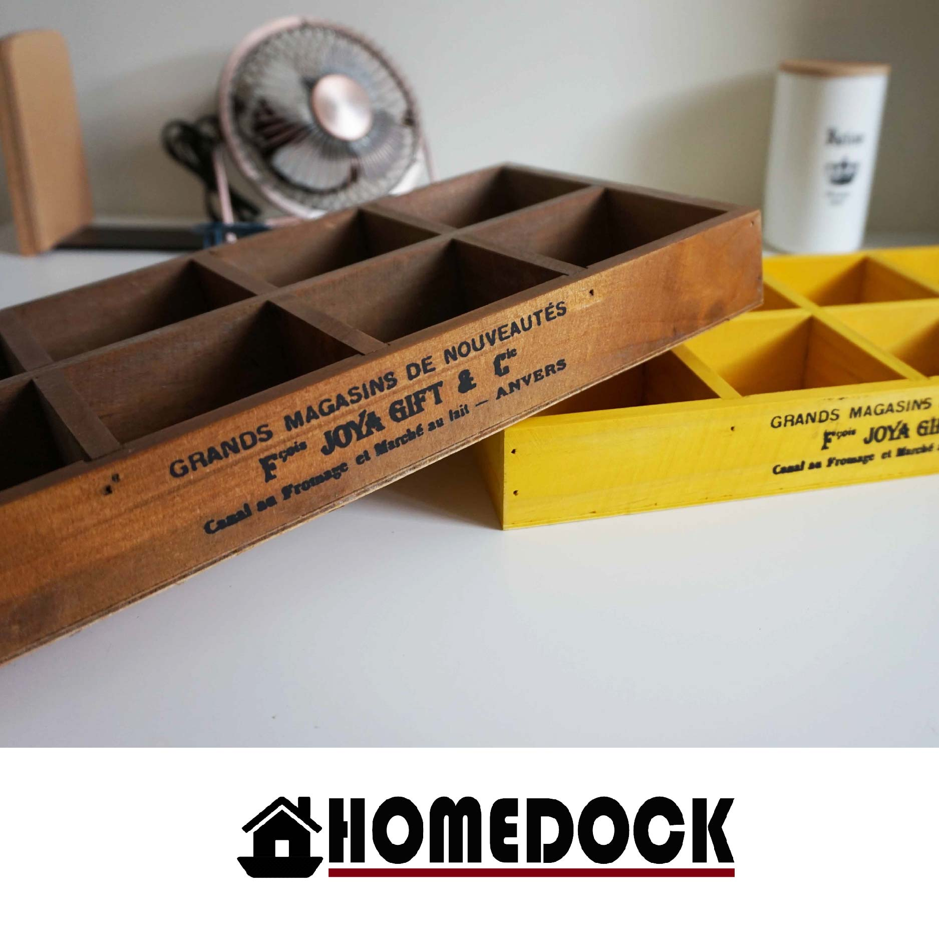HOMEDOCK-原木質感8格桌面收納盒 /筆筒/置物盒/Zakka/雜貨/原木製/層格櫃/文具筒/雙層