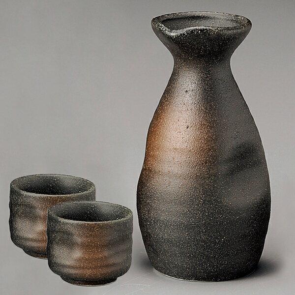 日本陶瓷 【美濃燒】備前吹 酒器組 1壺2杯