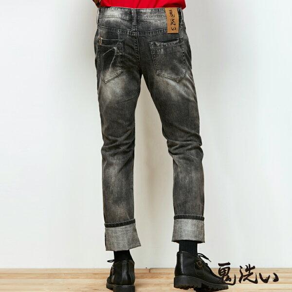 【限時5折】配皮小鬼頭低腰窄直筒褲(灰黑)-BLUEWAYONIARAI鬼洗
