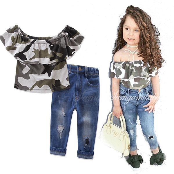 ins 兩件組 套裝 迷彩 短袖 一字領 上衣 荷葉 牛仔褲 刷白 刷破 刷鬚 個性 小童 中童 歐美 ANNA S.