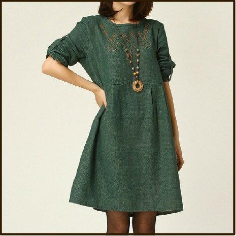 洋裝【心齋橋】中大尺碼寬鬆版型繡花棉麻長袖連身裙洋裝FAN1137(現+預)