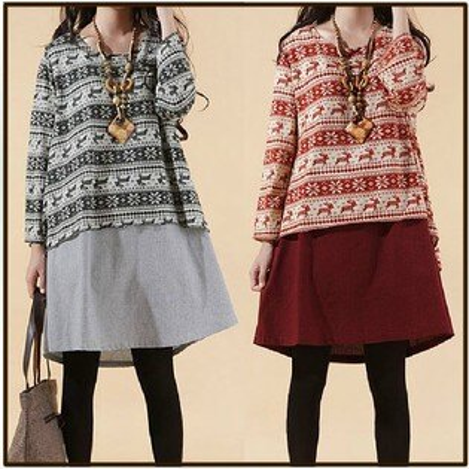 洋裝【心齋橋】中大尺碼寬鬆版型假兩件式長袖連身裙洋裝FAN1141(現+預)