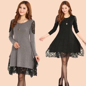 洋裝【心齋橋】韓版新款中大尺碼寬鬆版型蕾絲針織拼接長袖連身裙洋裝FAN1435(現+預)