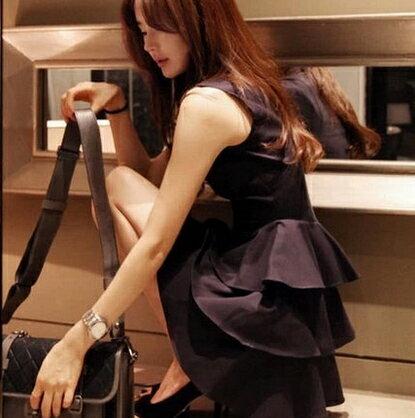 無袖洋裝~心齋橋~  氣質圓領荷葉裙擺無袖連身無袖裙洋裝FAN1545^(現 預^)