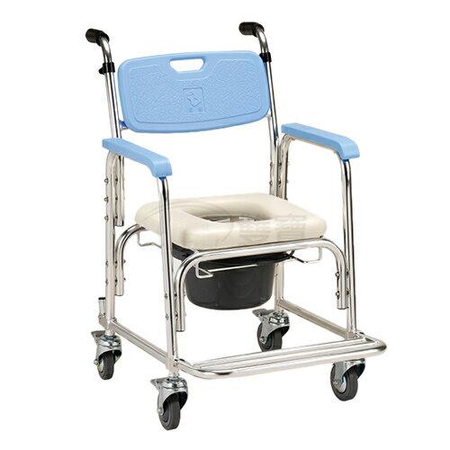 馬桶椅 均佳 JCS-205 鋁合金有輪洗澡便器椅-加推手