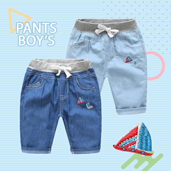 帆船刺繡圖案雙口袋抽繩牛仔七分褲0626(藍淺藍)【K12409】