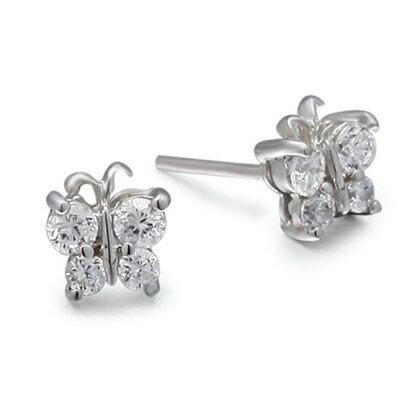 925純銀耳環鑲鑽耳飾~可愛精緻氣質百搭生日情人節 女飾品73dm22~ ~~米蘭 ~