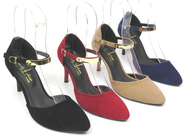*免運*跟鞋【彩虹屋】日系甜美繞踝細跟尖頭包鞋04-A890(黑紅可可藍)☆現+預