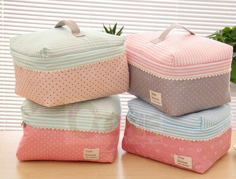 <br/><br/>  韓國大容量可愛化妝包 滌綸布加厚加棉手提包收納包化妝袋洗漱包【庫奇小舖】<br/><br/>