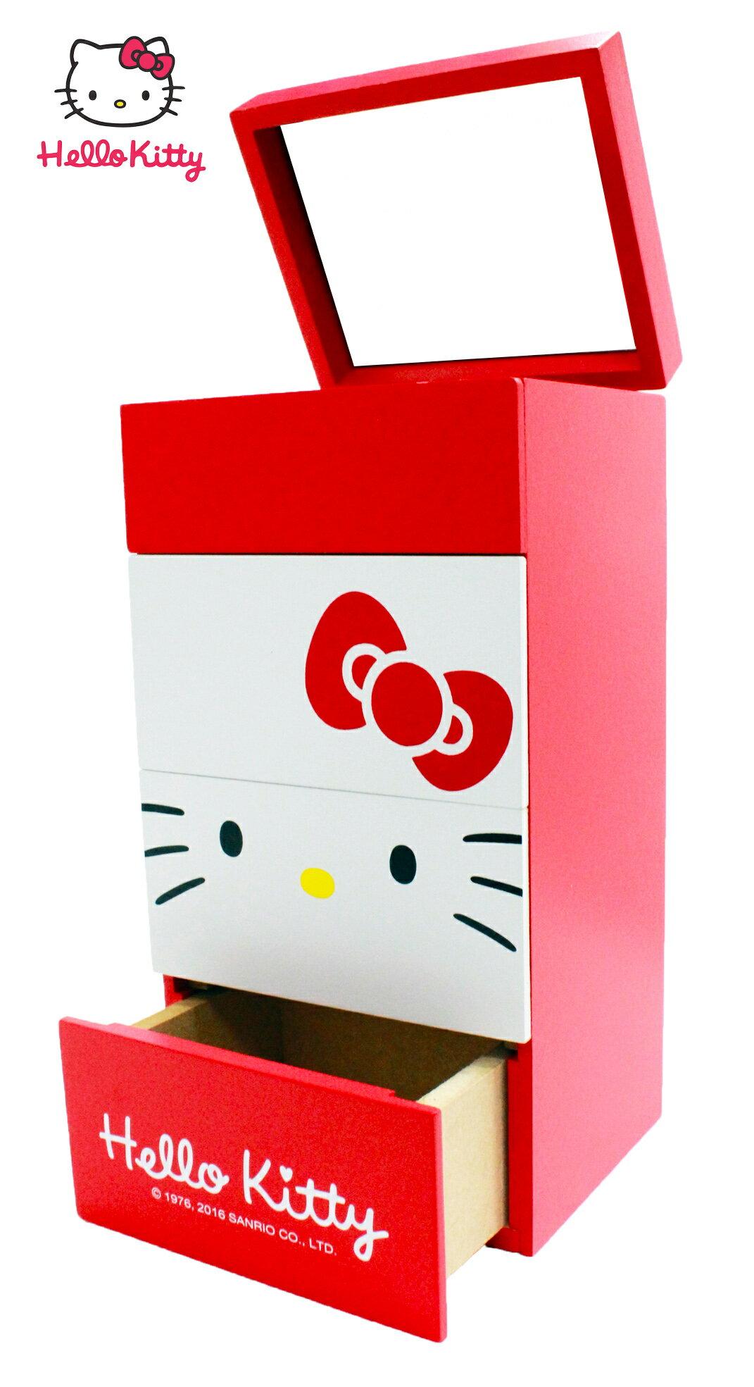 【真愛日本】17052300003 大臉多功能收納-KT紅 三麗鷗 Hello Kitty 凱蒂貓 收納櫃 收納盒