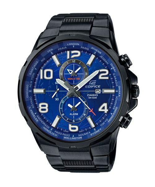 CASIO EDIFICE EFR-302BK-2A遨遊世界計時腕錶/藍面50mm