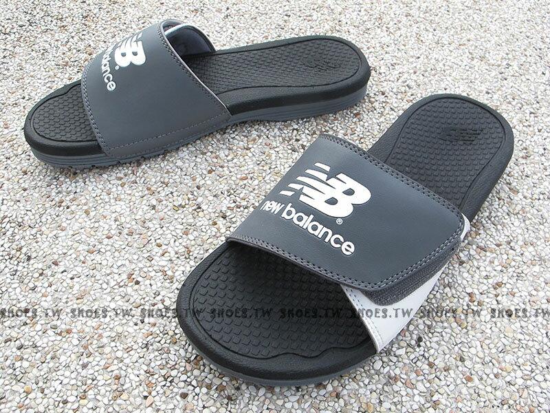 Shoestw【U3006CBL】NEW BALANCE 拖鞋 魔鬼氈 NB大LOGO 灰白黑 運動拖鞋 男生尺寸