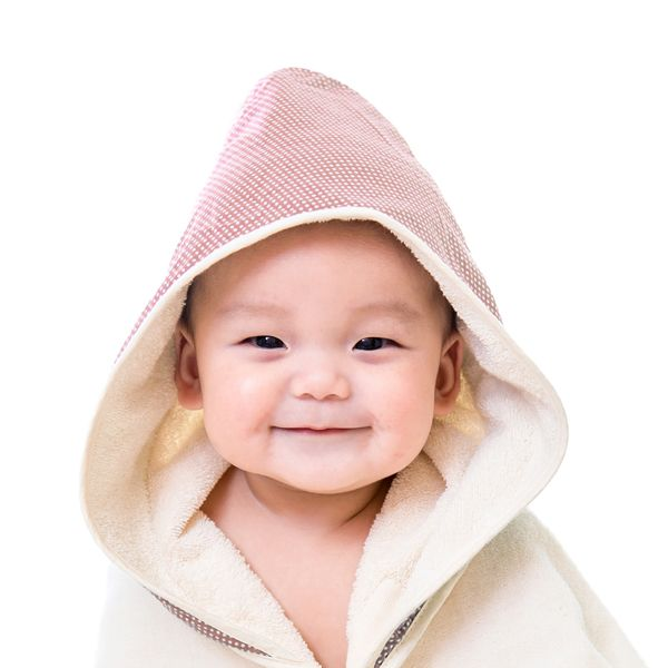 *babygo*nizio小蘑菇天然棉紗浴巾(粉紅點點/藍綠點點)